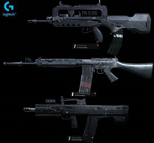macros for warzone on fal and fr-5.56 and oden - logitech